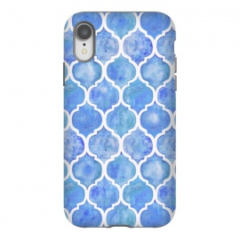 iPhone Xr  Cornflower Blue Textured Moroccan Pattern by Micklyn Le Feuvre