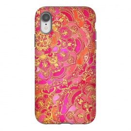 iPhone Xr  Hot Pink and Gold Baroque Floral Pattern by Micklyn Le Feuvre