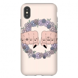 iPhone Xs Max  Girl Power by The Optimist (positive, optimist, minimal, modern, pastel, the optimist, positive art, girl power, girl boss, women empowerment, women, girl, feminism, feminist, empowerment, flower, flowers, floral, flourish, botanical, nature, hands, fists, girl fists)