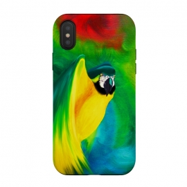 iPhone Xs / X  Macaw Parrot Ara Oil on Canvas Painting  by BluedarkArt (macaw, parrot, bird, wild, ara, brazilian bird, amazon animals, amazonas bird, colorful birds, exotic birds, oil on canvas, art, artistic, abstract, flight, nature, animal art, tropical birds, colorful)