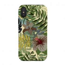 iPhone Xs / X  Jungle Foliage by Utart (abstract, aloha, botanic, botanical, botany, colorful, drawing, drawn, exotic, fashion, flora, floral, flower, foliage, forest, garden, green, hawaii, hawaiian, illustration, jungle, leaf, natural, nature, palm, pattern, philodendron, plant, spring, summer, tree, trendy, tropic, tropical, tropical l)