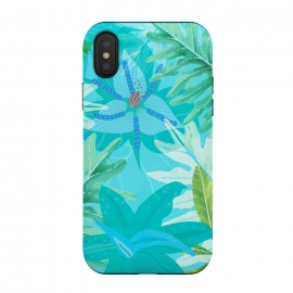 iPhone Xs / X  Eve's blue Aroma Garden by Utart (abstract, aloha, botanic, botanical, botany, colorful, drawing, drawn, exotic, fashion, flora, floral, flower, foliage, forest, garden, green, hawaii, hawaiian, illustration, jungle, leaf, natural, nature, palm, pattern, philodendron, plant, spring, summer, tree, trendy, tropic, tropical, tropical l)