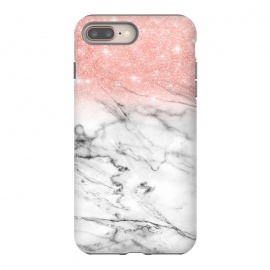 Rose Gold Glitter on Marble by Utart