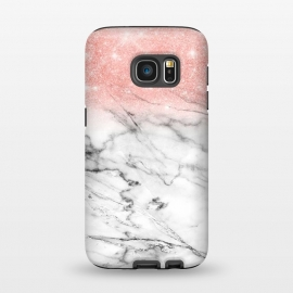 Galaxy S7  Rose Gold Glitter on Marble by Utart
