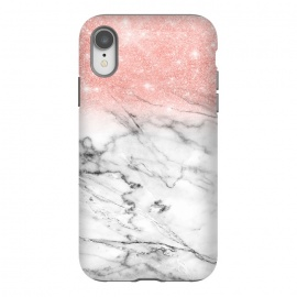 iPhone Xr  Rose Gold Glitter on Marble by