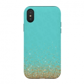 iPhone Xs / X  Gold Glitter on Teal Damask by
