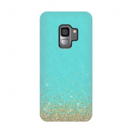 Galaxy S9  Gold Glitter on Teal Damask by Utart (abstract, blink, glamour, gleam, glitter, glittering, glow, glowing ,gold, golden ,light ,luxury, magic, marine, mermaid, modern, nautical, ocean, oceanic, pastel, pattern, sea,shimmer, shine, shiny, spark ,sparkle, summer, water,seamaid,graphic,drawing,painting,illustration,pattern,teal,turquoise,b)
