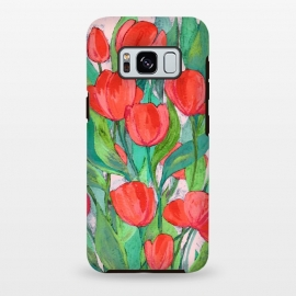 Galaxy S8 plus  Blooming Red Tulips in Gouache  by  (tulip,tulips,flowers,flower,floral,painting,painted,gouache,acrylic,micklyn,bright,colorful,red,pink,millennial,green,cyan,leaves,nature,botanical,beautiful,texture,hand painted)
