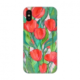iPhone X  Blooming Red Tulips in Gouache  by Micklyn Le Feuvre (tulip,tulips,flowers,flower,floral,painting,painted,gouache,acrylic,micklyn,bright,colorful,red,pink,millennial,green,cyan,leaves,nature,botanical,beautiful,texture,hand painted)