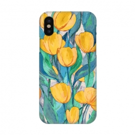 iPhone X  Blooming Golden Tulips in Gouache  by  (mustard,yellow,golden,floral,tulips,tulip,flower,flowers,leaves,leaf,nature,botanical,gouache,paint,painting,painted,micklyn,hand painted,bright,colorful,texture,grey,cyan,green,mint,blue)