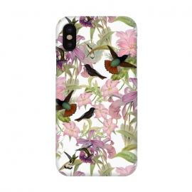 iPhone X  Hummingbirds and Tropical Flowers by Utart