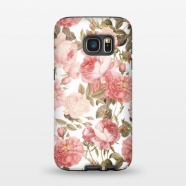 Galaxy S7  Peach Victorian Roses by Utart (blossom, spring, flower, pink, nature, season, floral, petal, beautiful, bloom, flora, blooming, natural, beauty, botany, summer, springtime, botanical, romantic, vintage, flowers, retro, pattern, girly, trendy, modern, fashion, utart, woman, women, feminine, girl, girls, chic, victorian,rose,roses,)