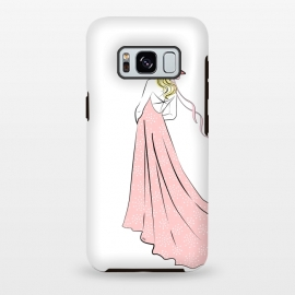 Galaxy S8+  Pink Lady in hat by Martina (woman,girl,feminine,modern,illustration,lady,hat,dress,pink,for her,bridesmaid)