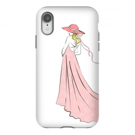 iPhone Xr  Pink Lady in hat by Martina (woman,girl,feminine,modern,illustration,lady,hat,dress,pink,for her,bridesmaid)