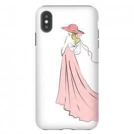 iPhone Xs Max  Pink Lady in hat by Martina (woman,girl,feminine,modern,illustration,lady,hat,dress,pink,for her,bridesmaid)