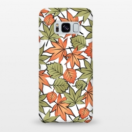 Galaxy S8+  Autumne leaves pattern by Martina (autumn,fall,modern,illustration,season,seasonal,leaf,leaves,tree,nature,green,orange,halloween,thanksgiving)