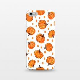 iPhone 5/5E/5s  Little Gouache Pumpkins with Dots on White by Micklyn Le Feuvre