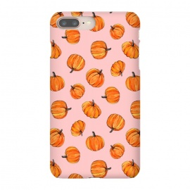 iPhone 8/7 plus  Tiny Pumpkin Polka Dots on Pink by