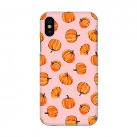iPhone X  Tiny Pumpkin Polka Dots on Pink by  (pumpkin,pumpkins,pattern,fall,autumn,harvest,thanksgiving,micklyn,gouache,orange,pink,millennial,dots,polka,food,hand painted,painting,illustration,cute)