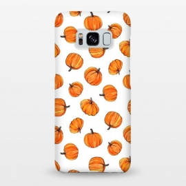 Galaxy S8+  Tiny Pumpkin Polka Dots on White by Micklyn Le Feuvre