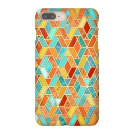 Tangerine and Turquoise Geometric Fall Pattern by Micklyn Le Feuvre