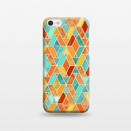 iPhone 5C  Tangerine and Turquoise Geometric Fall Pattern by Micklyn Le Feuvre