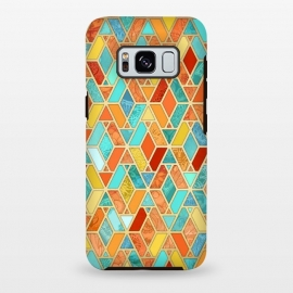 Galaxy S8+  Tangerine and Turquoise Geometric Fall Pattern by Micklyn Le Feuvre