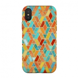 iPhone Xs / X  Tangerine and Turquoise Geometric Fall Pattern by Micklyn Le Feuvre