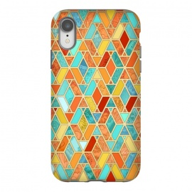 iPhone Xr  Tangerine and Turquoise Geometric Fall Pattern by Micklyn Le Feuvre