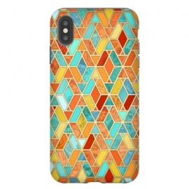 iPhone Xs Max  Tangerine and Turquoise Geometric Fall Pattern by Micklyn Le Feuvre