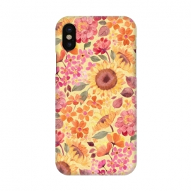 iPhone X  Happy Boho Autumn Floral  by Micklyn Le Feuvre (autumn,fall,floral,flower,flowers,pink,yellow,red,orange,peach,tangerine,golden,sunflowers,painted,micklyn,pattern,sixties,60s,seventies,70s,summer,fun,girly,pretty)