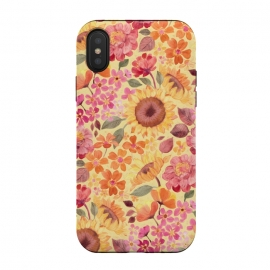 Happy Boho Autumn Floral  by Micklyn Le Feuvre (autumn,fall,floral,flower,flowers,pink,yellow,red,orange,peach,tangerine,golden,sunflowers,painted,micklyn,pattern,sixties,60s,seventies,70s,summer,fun,girly,pretty)