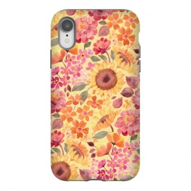 iPhone Xr  Happy Boho Autumn Floral  by Micklyn Le Feuvre (autumn,fall,floral,flower,flowers,pink,yellow,red,orange,peach,tangerine,golden,sunflowers,painted,micklyn,pattern,sixties,60s,seventies,70s,summer,fun,girly,pretty)