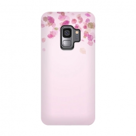 Galaxy S9  Leaves are falling on pink by Utart (blossom, spring, flower, pink, nature, season, floral, petal, beautiful, bloom, flora, blooming, natural, beauty, botany, summer, springtime, botanical, romantic, vintage, flowers, retro, pattern, girly, trendy, modern, fashion, utart, woman, women, feminine, girl, girls, chic,yellow,illustration,bo)