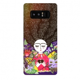 Galaxy Note 8  The space within the heart - edition II by Stefania Pochesci (Stars,starry,floral,cat,love,heart,space,leaves,forest,purple,black,star)