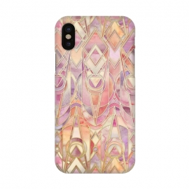 iPhone X  Autumn Peach and Amethyst Art Deco Pattern by  (art deco,art nouveau,coral,cream,lilac,lavender,purple,gilded,golden,gold,geometric,geometry,pattern,micklyn,texture,watercolor,tiles,enamel,fall,autumn,colors,peach)