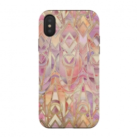 Autumn Peach and Amethyst Art Deco Pattern by Micklyn Le Feuvre (art deco,art nouveau,coral,cream,lilac,lavender,purple,gilded,golden,gold,geometric,geometry,pattern,micklyn,texture,watercolor,tiles,enamel,fall,autumn,colors,peach)
