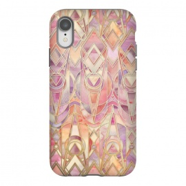 iPhone Xr  Autumn Peach and Amethyst Art Deco Pattern by Micklyn Le Feuvre