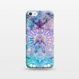 iPhone 5C  Blue lavender mandala drawing on white marble by Oana