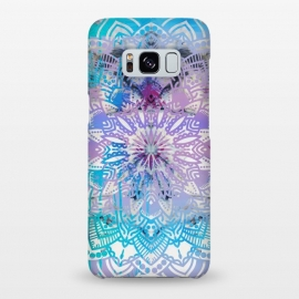 Galaxy S8+  Blue lavender mandala drawing on white marble by Oana