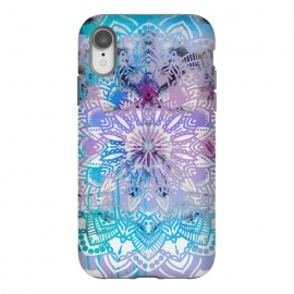 iPhone Xr  Blue lavender mandala drawing on white marble by Oana