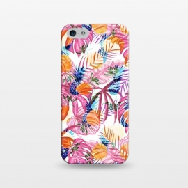 iPhone 5/5E/5s  Pink tropical leaves and blue pineapples by Oana