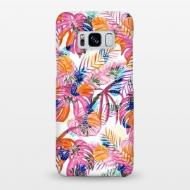 Galaxy S8+  Pink tropical leaves and blue pineapples by Oana