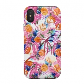 Pink tropical leaves and blue pineapples by Oana
