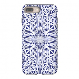Blue white oriental foliage mandala by Oana