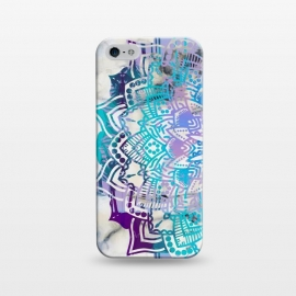 iPhone 5/5E/5s  Blue purple mandala on white marble texture by Oana