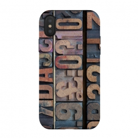 iPhone Xs / X  Old Wooden Print Blocks by