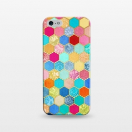 iPhone 5/5E/5s  Patterned Honeycomb Patchwork in Jewel Colors by Micklyn Le Feuvre
