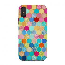 iPhone Xs / X  Patterned Honeycomb Patchwork in Jewel Colors by Micklyn Le Feuvre (hexagon,honeycomb,patchwork,quilt,golden,gilded,micklyn,pattern,texture,collage,bright,colorful,pink,red,blue,yellow,orange,peach,fall,autumn,cute,turquoise,aqua,teal,girly,craft,fabric,patterns)