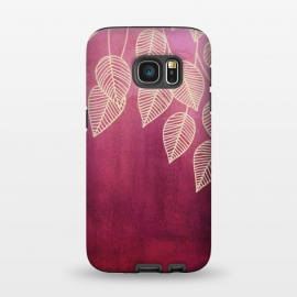 Galaxy S7  Magenta Garden in watercolor and ink by Micklyn Le Feuvre (ombre,gradient,magenta,plum,pink,red,wine,bordeaux,burgundy,ink,watercolor,linework,nature,leaves,leaf,micklyn,fall,autumn,winter)